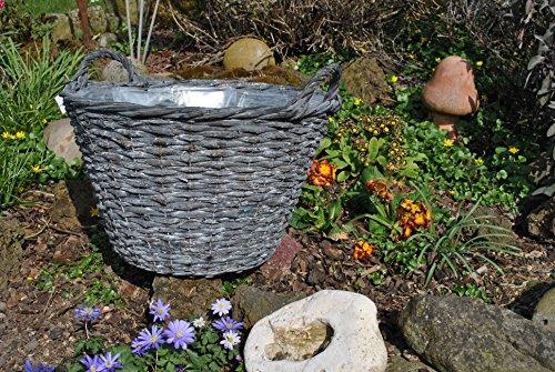 Weidenkorb,Landhausstil,anthrazit,als Pflanzkorb,für Brennholz, 45cm