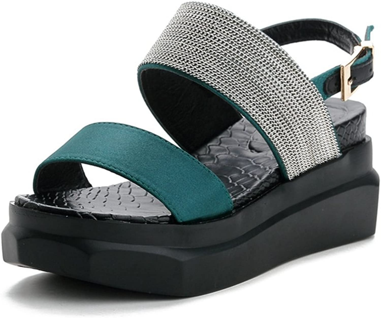 T-JULY Students Wedge Sparkle Glitter Platform Open Toe Sandals with Buckle for Girls Comfy Slip on Dress Walking