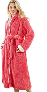 Women Winter Fleece Dressing Gown (4XL / 5XL) Fluffy Bathrobe Full Long Rose Red Robes Comfortable (Size : XXXXL)