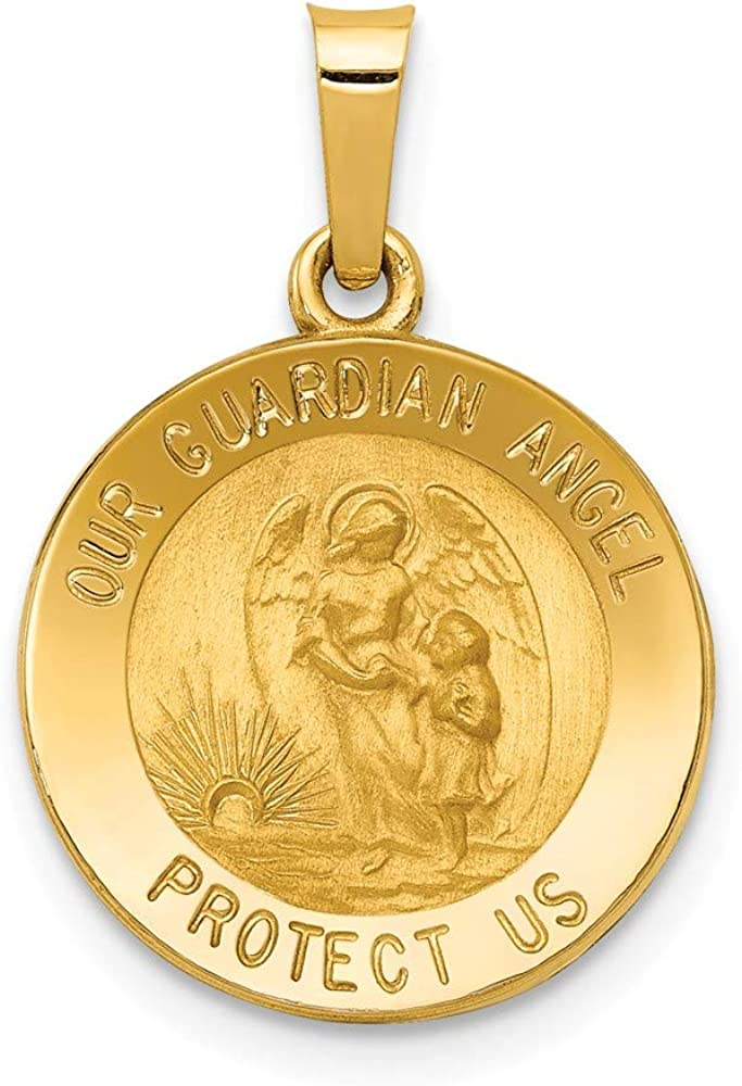 14k Yellow Gold Our Guardian Angel Medal Pendant Charm Necklace Religious Fine Jewelry For Women Gifts For Her