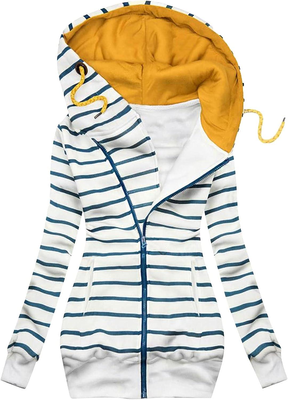 Women Fashion Coat Plaid Print Long Sleeve Jacket Zipper Drawstring Hooded Sweatshirt Outwear with Pocket