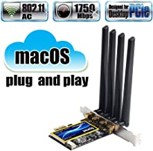 fenvi T919 for macOS PC PCI WiFi Card Continuity & Handoff BCM94360CD Native Airport WiFi & BT 4.0 1750Mbps 5GHz/2.4GHz 3x3 MIMO abgn+ac Beamforming+ WLAN PCI-E Card (NO Driver Needed for macOS