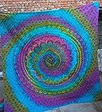 Mogi New Year Special Queen Tie & Dye Mehrfarbig Mandala Bohemian Strand Bettlaken Wandbehang Art handgefertigt 100% Baumwolle Tapisserie von Monika Unternehmen