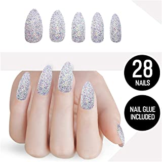Tip Beauty Glitter Fake Nail Kit, Faux Nails for Women, Fake Nails for Kids, Glue on Nails, Instant Nails for Ladies, Professional Nail Tips - MSRP $20 - Snow Queen White