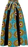 Shenbolen Women African Print Maxi Skirt Ankara High Waist Long Skirts (One Size, B)