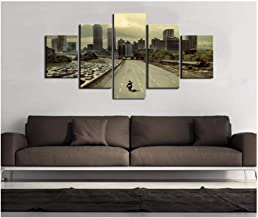 5 Canvas Paintings Modular Pictures Hd Printed Canvas Frame Painting Home Wall Art Photo Decor 5 Panels Movie Walking Dead Landscape Poster -40CMx60/80/100CM with frame