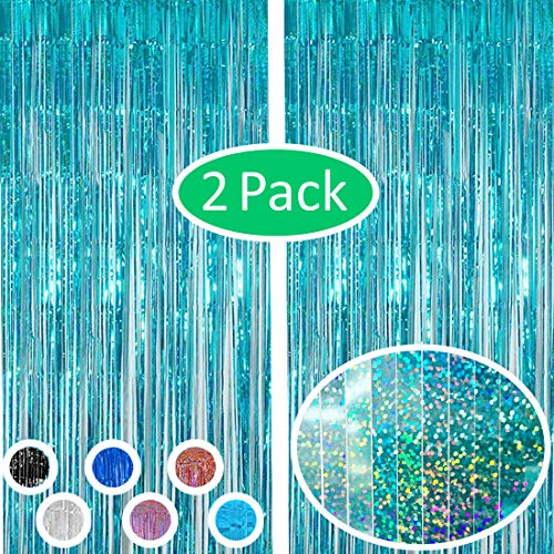 Vanujoy Iridescent Teal Blue Foil Fringe Backdrop Curtains Party Decoration - 2 Pack Tinsel Party Door Wall Curtain for Birthday Bachelorette Party Engagement Bridal Shower Baby Shower Graduation