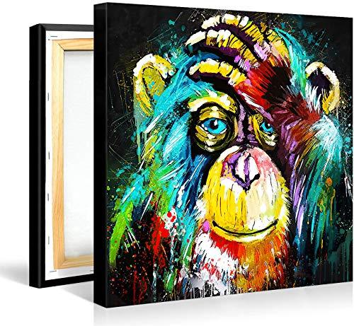 Tableau Singes Pop Art Toile Cadre Singes Deco, Moderne Cool Animal Toile Art Pour Salon Décoration (Avec Cadre, 80x80cm(31.49x31.49 inch))