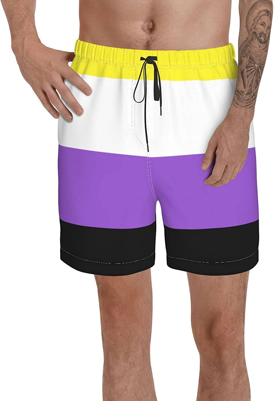 Count Binary Pride Flag Men's 3D Printed Funny Summer Quick Dry Swim Short Board Shorts with