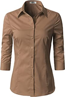 Doublju Womens Basic Slim Fit y 3/4 Sleeve Button Down Collared Shirt with Plus Size