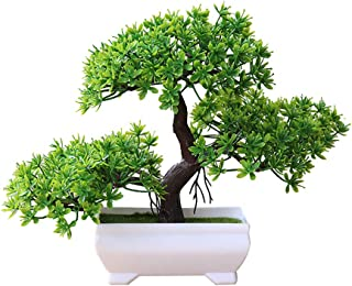 ekqw015l Artificial Bonsai Tree - Fake Plant Decoration,Welcoming Pine Bonsai Simulation Artificial Potted Plant Ornament Home Office Bathroom Home Kitchen Bookshelf Garden Decor Green