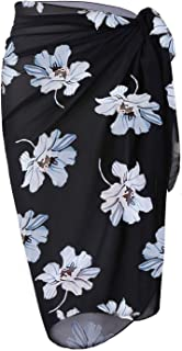 OmicGot Women's Swimsuit Cover Up Beach Sarong Wrap Maxi Skirt BlackGrey Flower Middle S-M