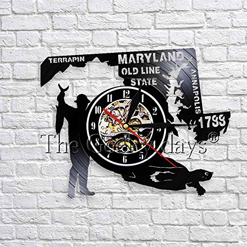 wtnhz LED-Old Line Country Maryland Hunter Water Turtle Art Wall Decoration Vintage Vinyl Wall Clock 3D Wall Watch Annapolis Clock Wall, USA
