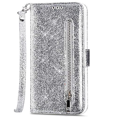 Samsung Galaxy Note 10 Lite Hülle Glitzer Bling Ledertasche,PU Leder Magnet Klapphülle Geldbörse Handyhülle mit Kartenfächer Standfunktion Flip Case Handy Tasche,Silber