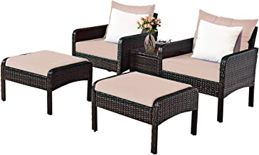 Tangkula Wicker Furniture Set 5 Pieces PE Wicker Rattan Outdoor All Weather Cushioned Sofas and Ottoman Set Lawn Pool Balc...