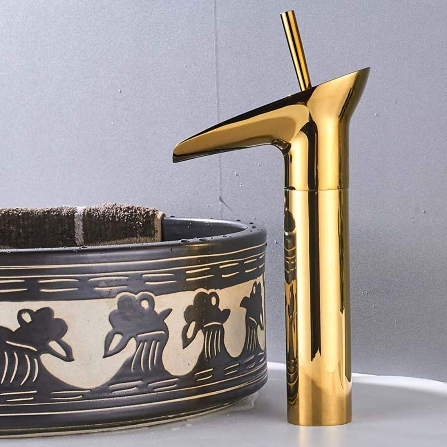 Bathroom Sink Tap golden Waterfall Spout Basin Faucet Deck Mounted Single Handle Bathroom Vessel Sink Mixer Tap One Hole Hot Cold Water Tap