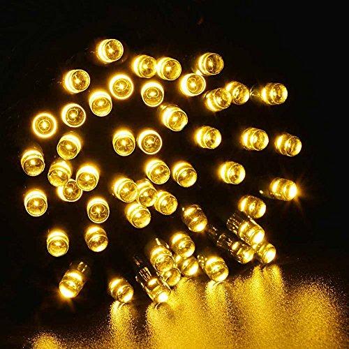 Lichterkette,FeiliandaJJ 12M 100LED IP44 Wasserdichte Solar-Deko-Lichterkette LED Licht Hochzeit Party Halloween Xmas Innen/Außen Haus Deko String Lights (Gelb)