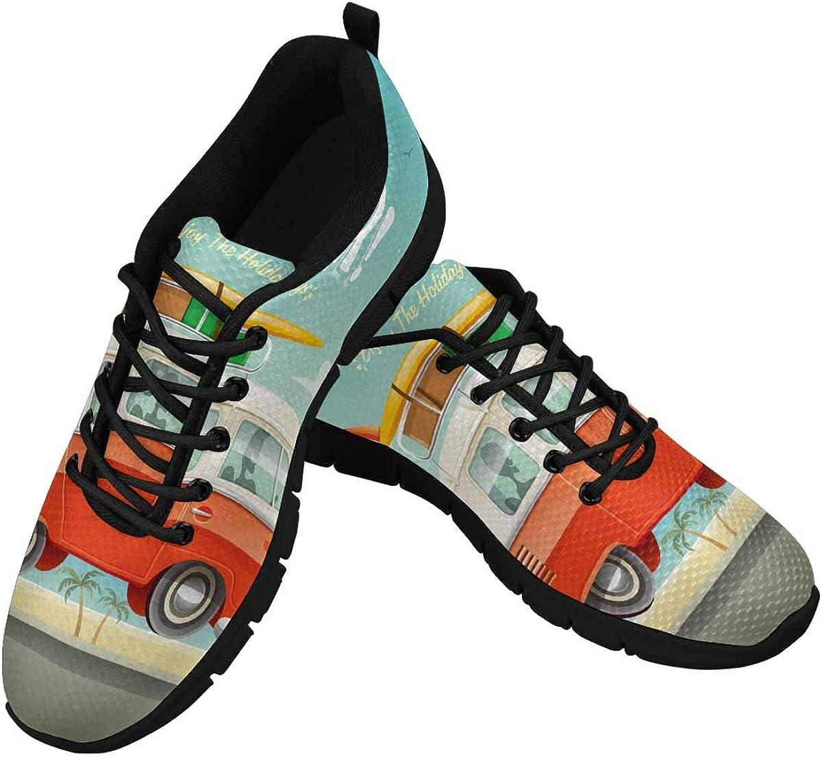 INTERESTPRINT OFFicial Hello Summer Camper Van Walking Ligh Shoes Nippon regular agency Women's