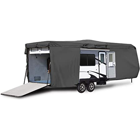 Engine And Both Side Storage Areas Waterproof Durable RV Motorhome Fifth Wheel Cover Covers Class A B C Fits Length 31-34 New Travel Trailer Camper Zippered Panels Allow Access To The Door