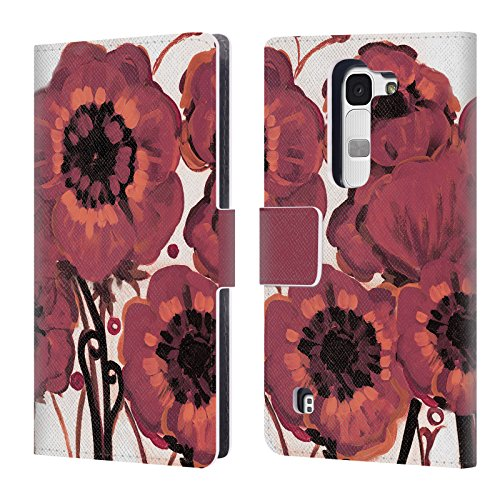 Head Case Designs Offizielle Natasha Wescoat Marsala Blumen Leder Brieftaschen Huelle kompatibel mit LG Spirit / H440N / H420