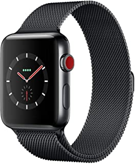Apple Watch Series 3(GPS + Cellularモデル)- 42mmスペースブラックステンレススチールケースとスペースブラックミラネーゼループ