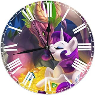 HOHOHAHE My Little Pony Dragon Treasure Wall Clock Round Style,Silent Non-Ticking Wall Clock,Battery Operated Art Decorative for Kitchen,Living Room,Kids Room and Coffee Decor (10 Inch)