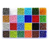 BALABEAD 14400pcs in Box 8/0 Glass Seed Beads Lustered Loose Spacer Beads, 3mm Seed Beads, Hole 1.0mm...