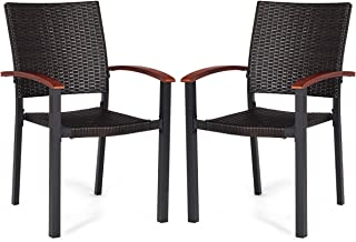 Tangkula Dining Chairs Outdoor Outdoor Indoor Garden Beach Lawn Patio Armchair Set with Eucalyptus Wood-Made Armrests Ergonomic Rattan Wicker Chairs Set with Aluminum Frame for Balcony Chairs (2 PCS)