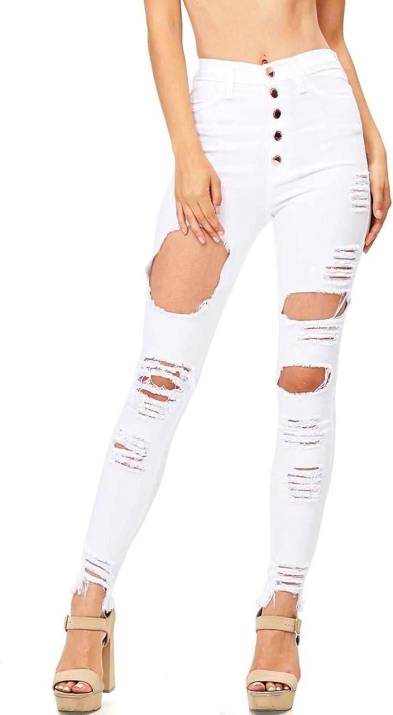 14a90523b819e5 Vibrant Juniors High Waisted Extreme Ripped Jeans Women's osilfi6300 ...