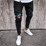 Vaqueros para Jeans Pantalones Mens Cool Black Jeans Skinny Ripped Destroyed Stretch Slim Fit Hip Hop Pantalones con Agujeros para Hombres L 1892
