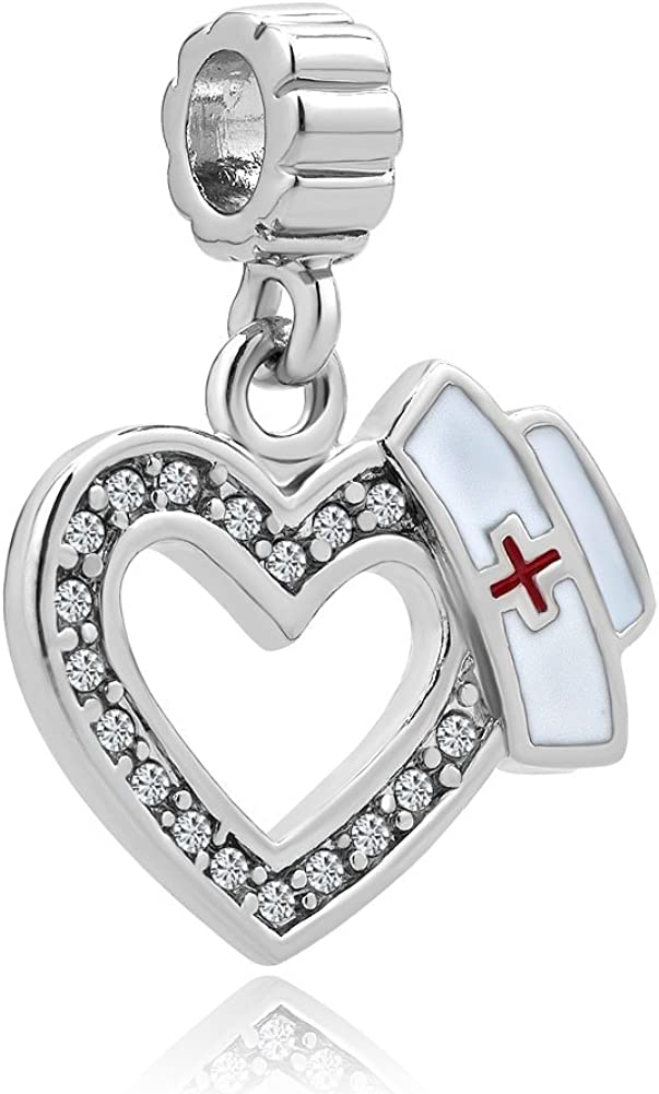 Max 70% OFF Cherris Heart Love Stethoscope Nurse Crystal Cap Charms B Dangle low-pricing