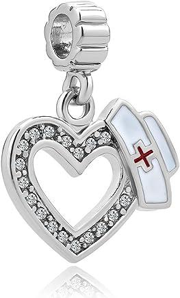 d0654eed1 Charmed Craft Heart Love Nurse Charms Nurse Cap Red Cross Dangle Beads for  Bracelets