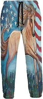 Cyloten Sweatpants American Flag Horse Men's Trousers Durable Hip Hop Pants Sportswear with Pockets