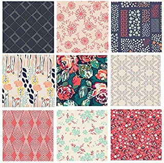 Red and Navy Modern Floral Quilt Bundle | Fat Quarters for Quilting | Art Gallery Fabrics | Recollection Winged | Katarina Roccella (Fat Quarters)