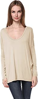 Women's Famous Round-Neck Long Sleeve Loose Fit Bamboo Top