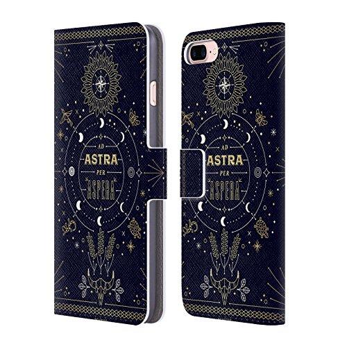 Head Case Designs Oficial Cat Coquillette Ad Astra Lineal Carcasa de Cuero Tipo Libro Compatible con Apple iPhone 7 Plus/iPhone 8 Plus
