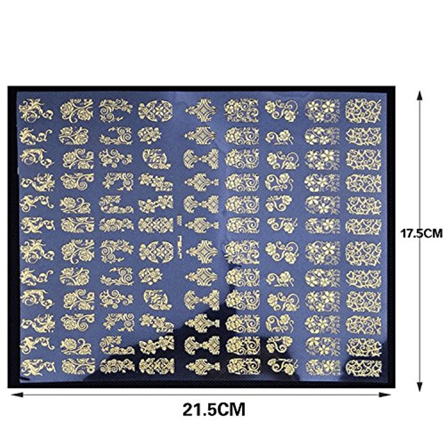 聴覚障害者ティッシュ王子ネイルステッカー 1シート108枚 / ネイルシール/ネイルホイル/ネイルアートテープ/デコレーション/ジェルネイル (Gold)