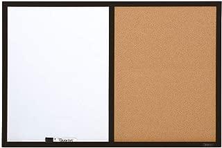 Quartet Combination Whiteboard & Corkboard, 2' x 3' Combo White Board & Cork Board, Black Frame (95223B)