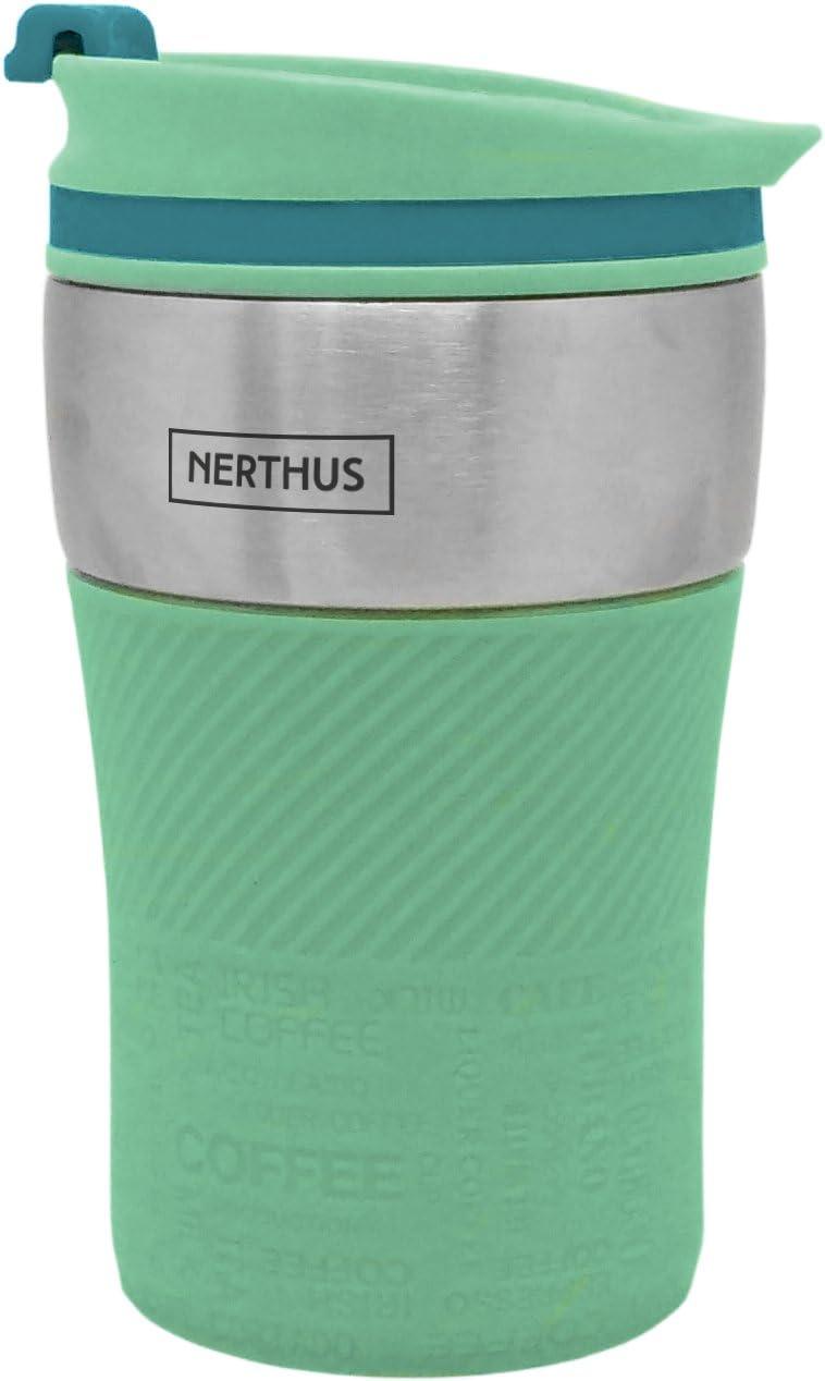 Nerthus Taza Termo de Doble Pared, Acero Inoxidable, Turquesa, 250 ml