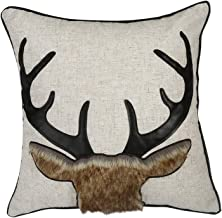 Lominc Decorative Throw Pillow Cover, 3D Textured Vintage Embroidery Deer Pattern Cushion Cover Case18 x 18(Only Pillow Cover)