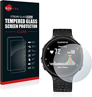 savvies Cristal Templado Compatible con Garmin Forerunner 235 Protector Pantalla Vidrio Proteccion 9H Pelicula Anti-Huellas
