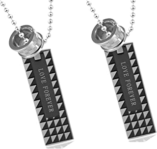 His & His Necklace Set Stainless Steel Interlocking Ring Rectangular Pendant Forever Love