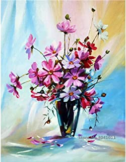 WSNDGWS Flower and vase Hand-Painted Oil Painting for Wedding Decoration Home Decoration Oil Painting