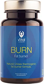 Vital Concept Burn - Intensive Fast Fat Burning in Gym. Natural Unisex Weight Loss and Shaping Formula, with Green Coffee Extract + Guarana. Metabolism Thermogenic Support. 60 Caps, 30 Days Supply