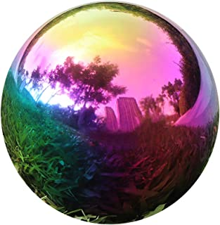 YeahaWo Rainbow Gazing Globe Mirror Balls for Garden Home Stainless Steel Shiny Hollow Sphere Sparkling Outdoor Ornament (8 Inch)