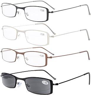 13e1233445 4-Pack Marco de acero inoxidable La mitad ojo estilo Gafas de lectura  Incluye sol