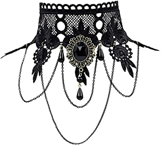 Halloween Costumes Jewelry for Women - Steampunk Black Lace Choker Necklace Gothic Jewelry Accessories, Vampire Choker Necklace Costume for Teen Girls