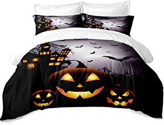JARSON Halloween Pumpkin Bedding Set Queen Size 3D Black Night Castle Bat Printed Duvet Cover Set Kids Cartoon Bedding