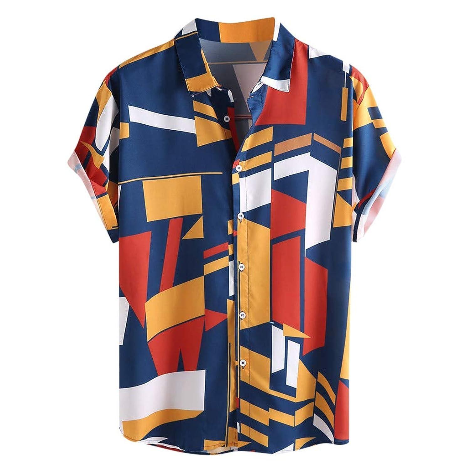 Swyss Mens Short Sleeve Henley Shirt Geometric Printed Button Down Loose Summer Beach Tops Tees