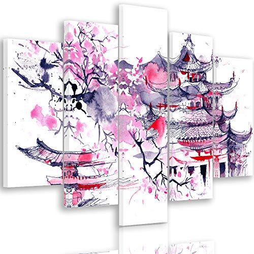 Feeby. CEREZA Multiple cuadro de lienzo 5 piezas Tipo A, Tamaño: 200x100 cm, JAPÓN MODERNO ROSADO